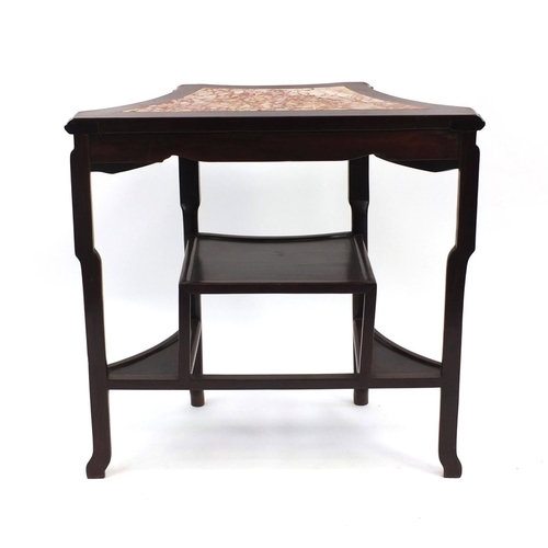 2002 - Chinese rosewood side table with inset marble top and stepped under tier, 81cm high x 83cm wide x 43...