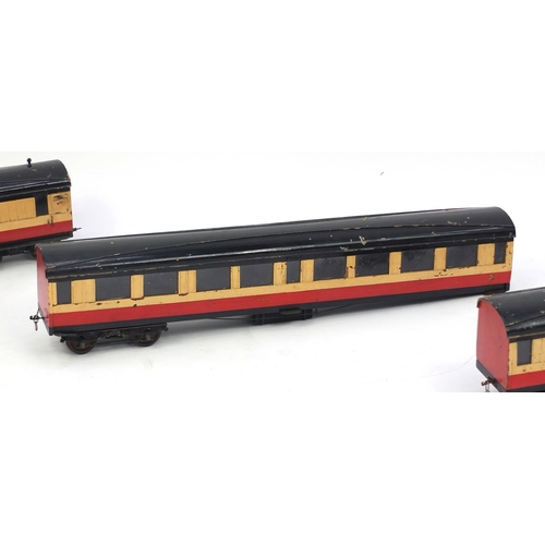 421 - Three large scratch built coaches, each 77cm in length...