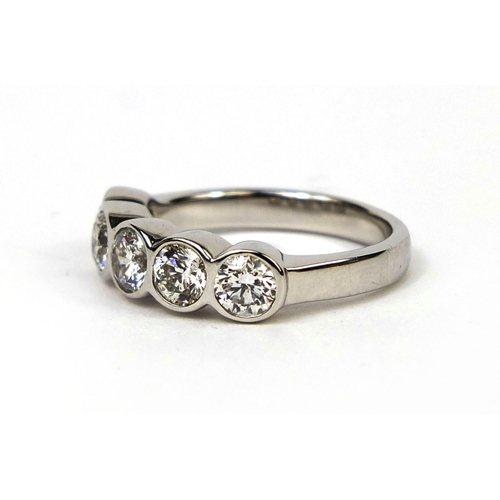 926 - 18ct white gold five stone diamond ring, size M, approximate weight 5.4g...