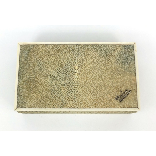 9 - Rectangular shagreen and sandalwood cigarette box with ivory banding and twin divisional interior, 6...