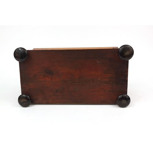 30 - Victorian burr walnut tea caddy, the hinged lid to open reveal a twin divisional interior and a glas...