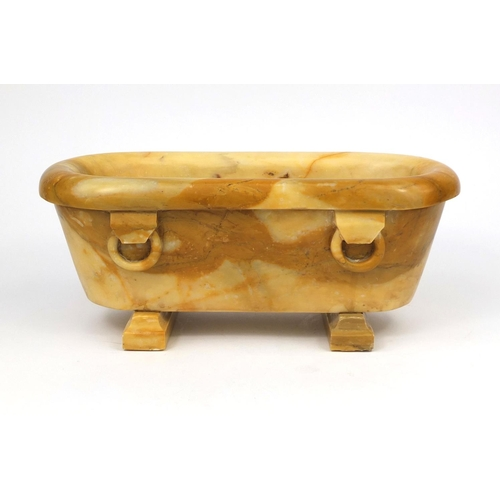 1 - Italian Grand Tour Siena marble model of a roman bath, with ring handles, 17cm high x 40cm wide x 18...