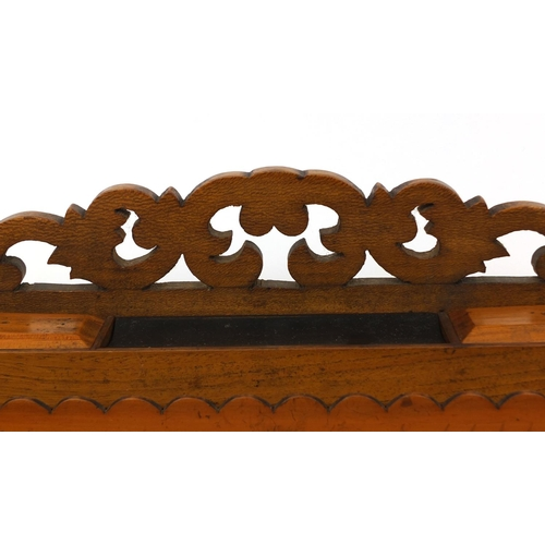 33 - Sorrento ware olive wood writing slope, with carrying handles and pierced gallery, the lid inlaid wi...
