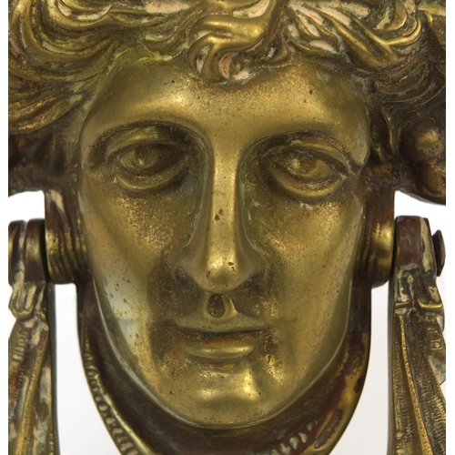 55 - Victorian brass door knocker in the form of a Maidens head, 17cm in length