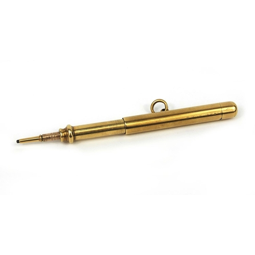 120 - S Mordan & Co unmarked gold propelling pencil, 6.5cm in length, approximate weight 20.8g