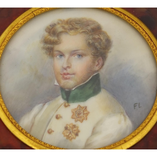 12 - Set of five circular portrait miniatures onto ivory, including ones of Young Napoleon and Pauline Bo...