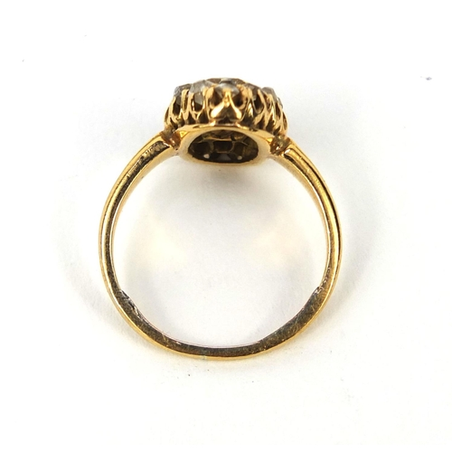 930 - Antique unmarked gold diamond cluster ring, size I, approximate weight 3.8g...