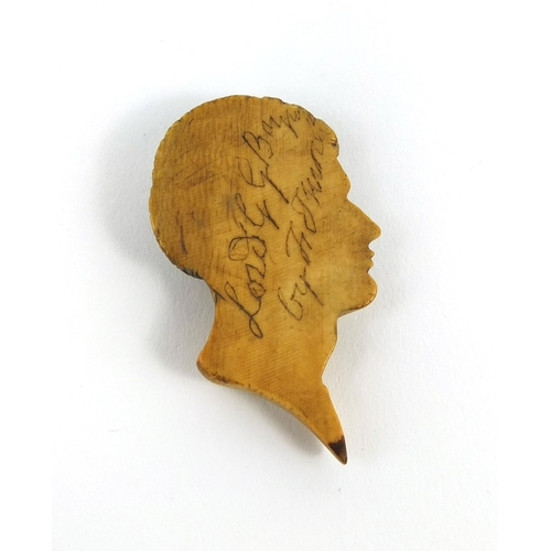 4 - Carved ivory bust of Lord George Gordon Byron, inscribed to the reverse, 5cm in length