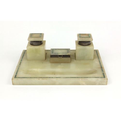 36 - Art Deco marble desk stand, fitted with a pair of inkwells and a stamp box, each with silver hinges,...