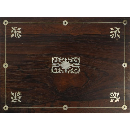 34 - Two Victorian sewing boxes comprising a rosewood example with Mother of Pearl inlay and fitted lift ...