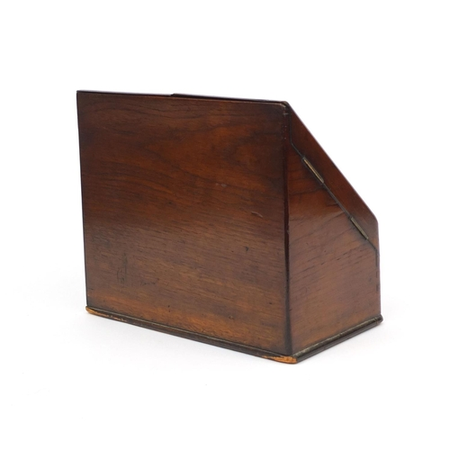 32 - Victorian burr walnut stationery box fitted with a pair of doors above a drawer to the base, 25cm hi...