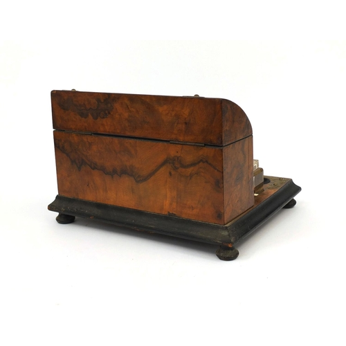 31 - Victorian burr walnut desk stand with glass inkwells, letter rack and brass strap decoration, 21cm h...