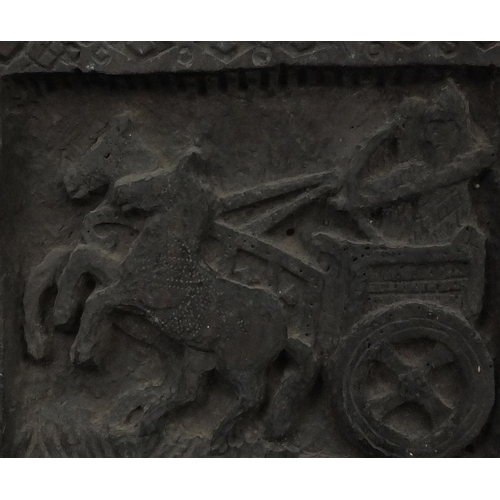 22 - Antique wooden panel, carved with figures and a chariot, gilt framed, 40cm x 21cm excluding the fram...