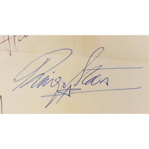 183 - Two sets of Beatles autographs each comprising John Lennon, Ringo Starr, Paul McCartney and George H...