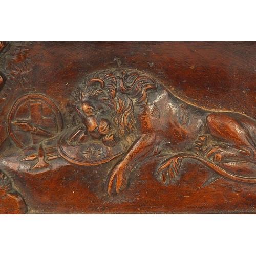 23 - 19th Century wooden memorial plaque depicting The Lion of Lucerne, 'Helvetiorum Fidei Ac Virtuti', 1...