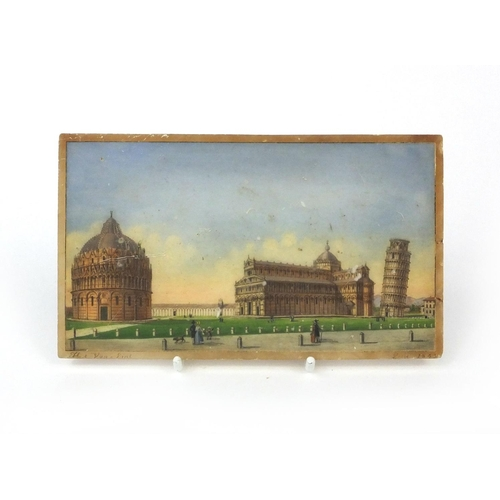 2 - 19th century Italian alabaster panel hand painted with The Piazza dei Miracoli, dated 1843, signed V...