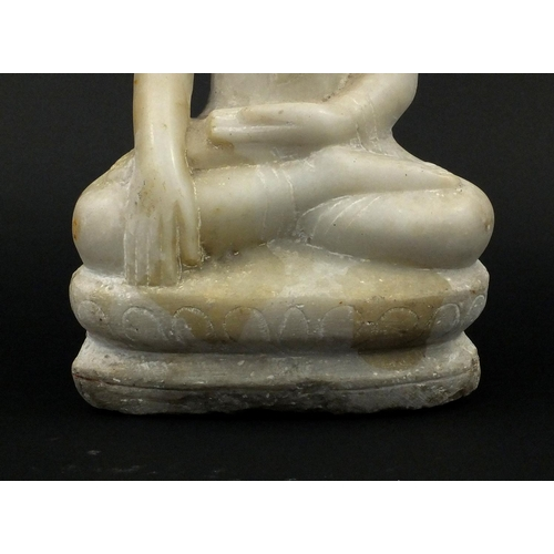 622 - Carved alabaster Thai Buddha seated in the lotus position, 41cm high...