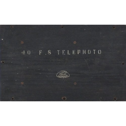 56 - Large Ross of London telephoto lense No.223927 with wooden crate, the lens 32cm in length