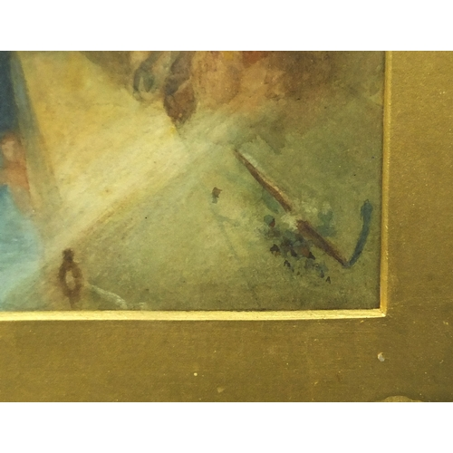 1333 - Watercolour, classical scene, possibly the Acropolis in Greece, mounted and gilt framed, 59cm x 44cm...