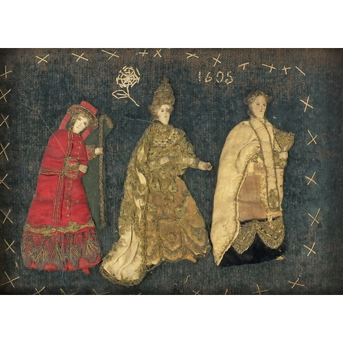 24 - Antique stumpwork picture of three figures, dated 1605, framed, 39cm x 28cm excluding the frame