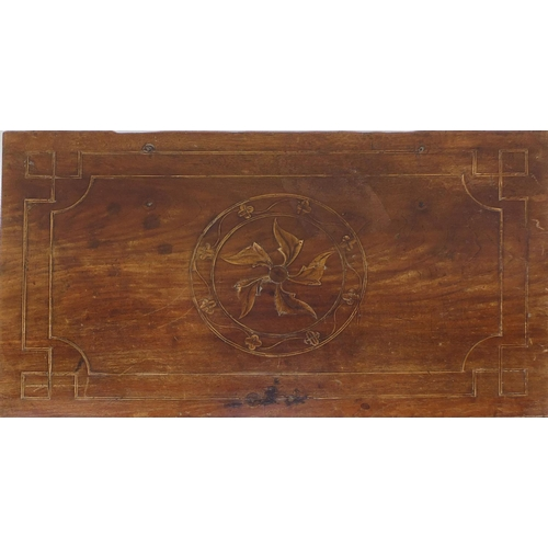 2008 - Colonial walnut chest with hinged lid, stylised floral inlay and iron carrying handles, 42cm high x ...