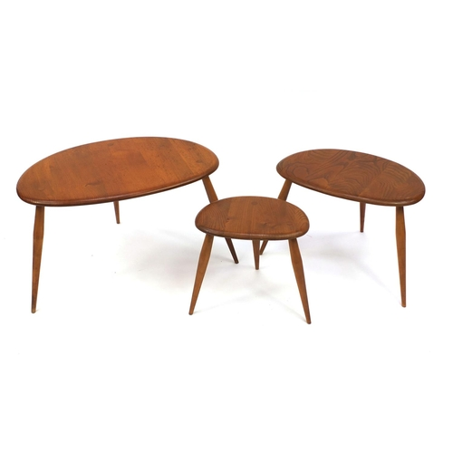 2042 - Ercol nest of three pebble tables, the largest 40cm high x 60cm wide x 44cm deep