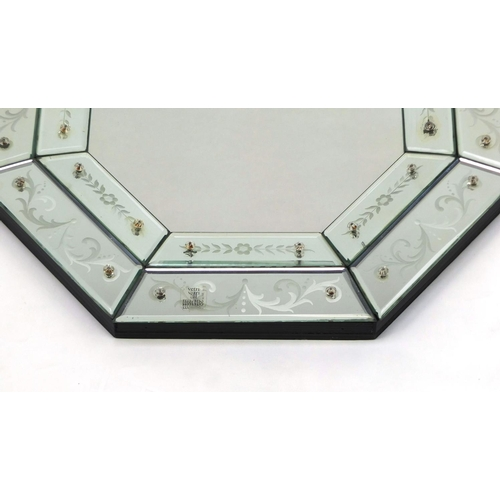 2009 - Venetian elongated octagonal mirror with bevelled and etched glass panels, 64cm x 49cm