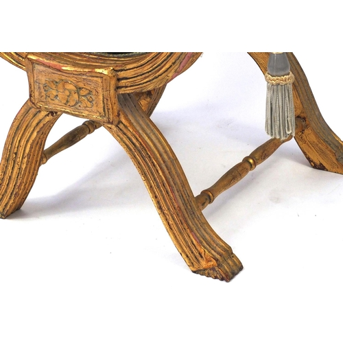 2037 - French gilt wood x framed stool with gold floral upholstered cushioned seat, 57cm high x 70cm wide x...