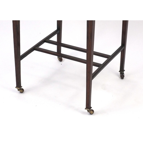 2056 - Inlaid rosewood occasional table fitted with a frieze drawer, raised on fluted legs, 68cm high x 60c...