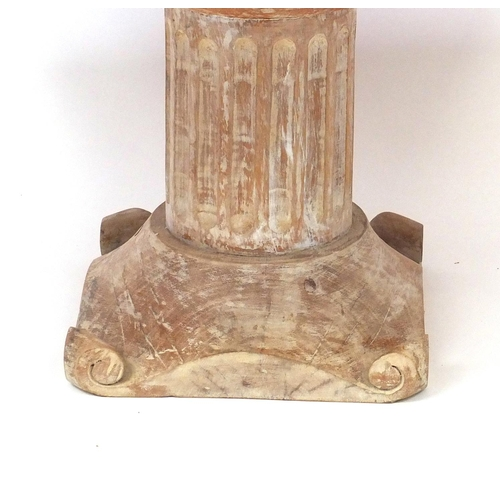 2025 - Rectangular marble table supported on a pedestal column base, 45cm high x 85cm wide x 78cm deep
