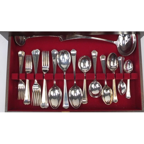 2018 - Eight place canteen of Samuel Peace Sheffield silver plated cutlery, the canteen 18cm high x 55cm wi...