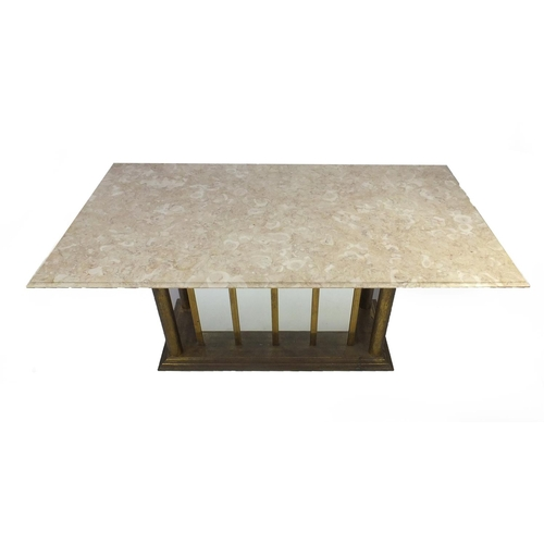2014 - Dining table with a marble top supported by gilt metal and mirrored base, 78cm high x 184cm wide x 9...