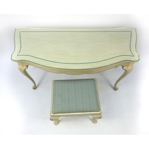 2020 - Cream and green painted console table fitted with a frieze drawer and a similar stool, the console t...