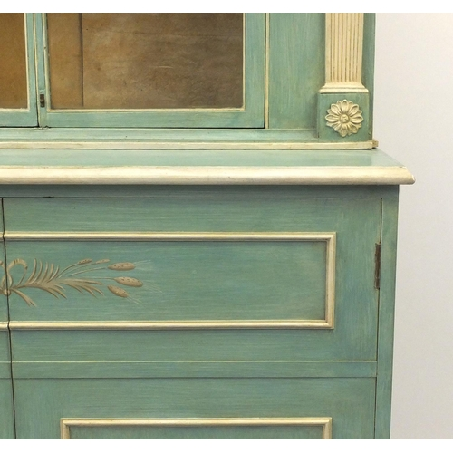2004 - Georgian style green and cream painted bookcase fitted with a pair of glazed doors above two cupboar...