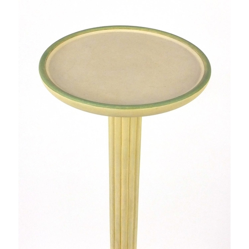 2048 - Cream and gilt painted torchère with reeded column on tripod base, 142cm high