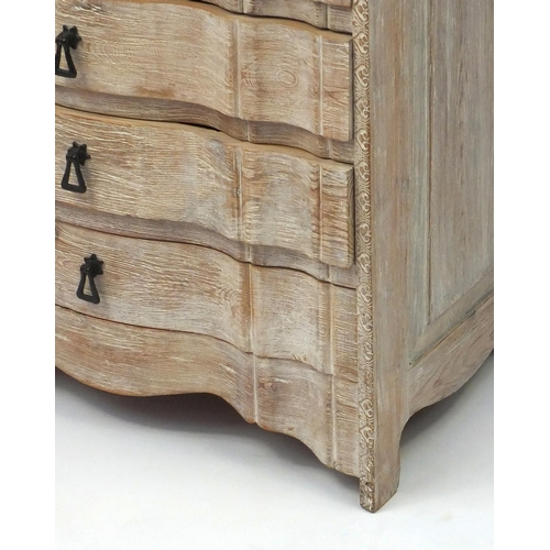 2036 - Bleached wooden six drawer chest with shaped drawers, 85cm high x 64cm wide x 40cm