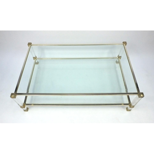 2034 - Pierre Vandel modern plate glass and lucite two tier coffee table, 40cm high x 125cm wide x 73cm dee...