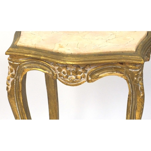 2031 - Giltwood plant stand with inset marble top, 60cm high x 40cm wide and 40cm deep