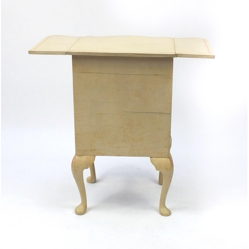 2026 - Cream and pink painted three drawer serpentine fronted chest with drop sides, 73cm high