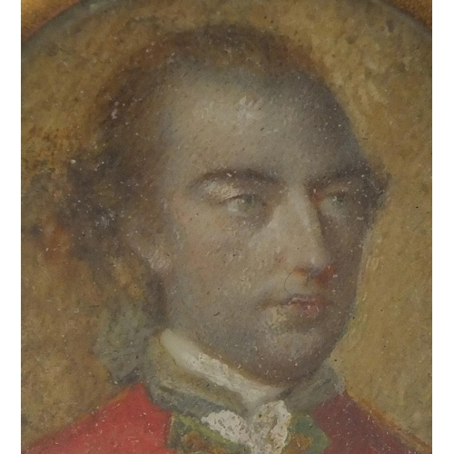 13 - Georgian oval portrait miniature onto ivory of a gentleman wearing a red tunic, housed in a gilt pen...