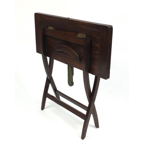 folding mahogany campaign card table with beize lined top 53cm high. Black Bedroom Furniture Sets. Home Design Ideas