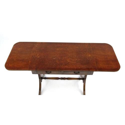 Bur Walnut Drop End Sofa Table 75cm High X 83cm Wide X