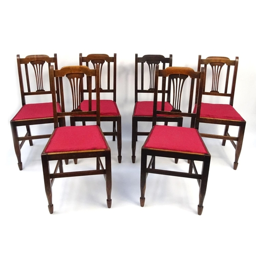 Red Upholstered Dining Room Chairs: Set Of Six Walnut Dining Chairs With Red Upholstered Seats