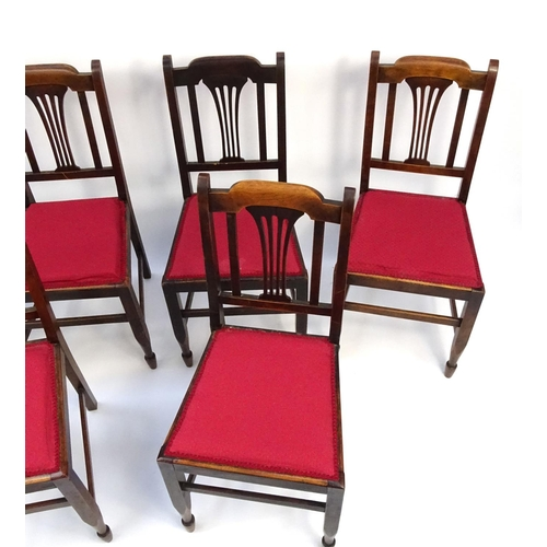 Set of six walnut dining chairs with red upholstered seats for Red upholstered dining chair