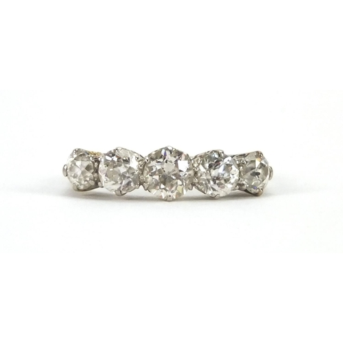 899 - 18ct white gold diamond five stone ring, size N, approximate weight 3.7g