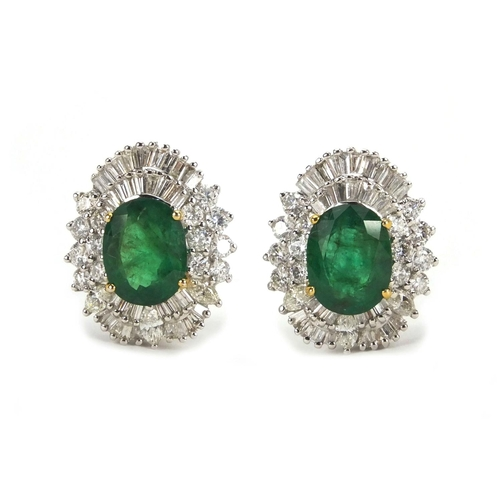 897 - Pair of 18ct white gold emerald and diamond earrings, 2cm long, approximate weight 12.4g...