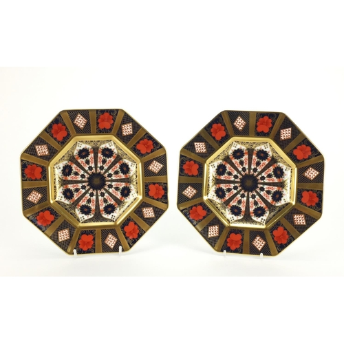 Pair of Royal Crown Derby old Imari pattern plates with gold