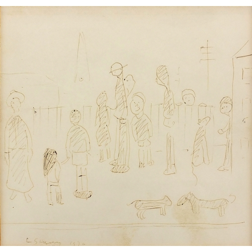 727 - Lawrence Stephen Lowry - Figures and three dogs, ink sketch onto paper, inscribed and numbered verso...