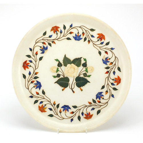 39 - Circular Pietra dura tray inlaid with ivory and malachite, 33cm in diameter...