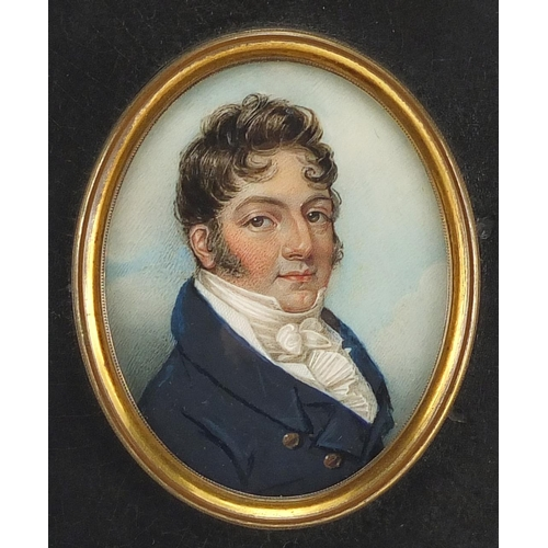 1 - Georgian oval hand painted portrait miniature onto ivory of Joseph Colyer, inscribed Painted by Geor...